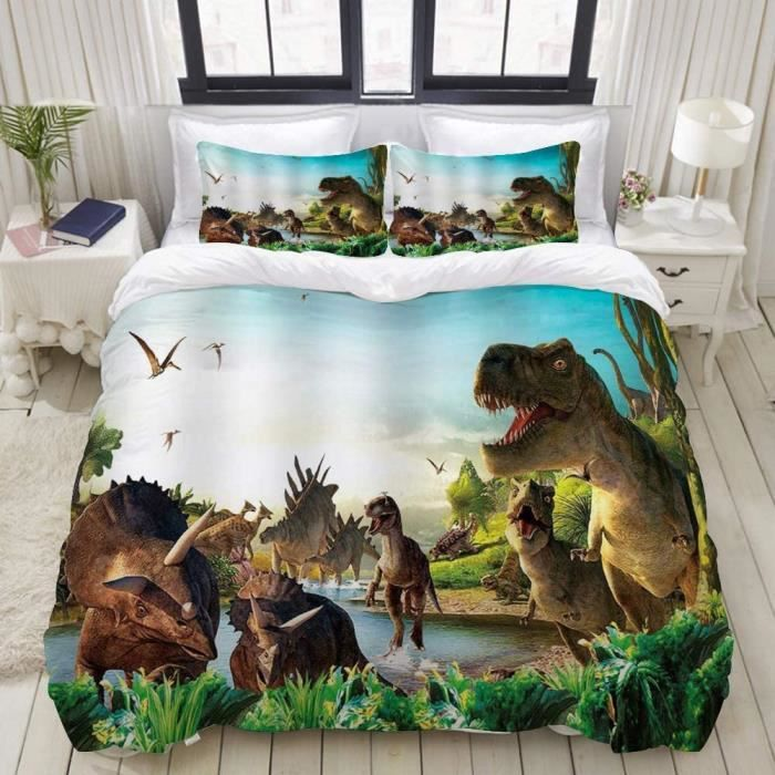 Housse de Couette, Dinosaures Jungle River Dragon Forest Jurassic Ancient Animal Tyrannosaurus Rex ptérodactyle -100x140cm[403]