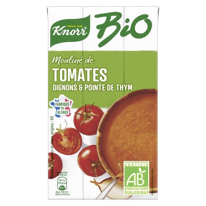 KNORR Bio Soupe Liquide Mouliné de Tomates Oignons et Pointe d'Herbes - 1 l
