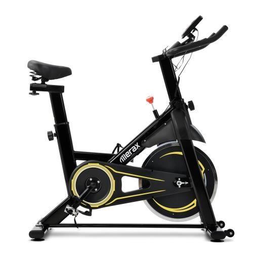 Vélo d'intérieur avec système d'entraînement par courroie avec volant d'inertie 8KG (jaune)