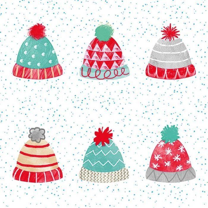 Serviette bonnets hiver 3 plis 33x33 cm x20