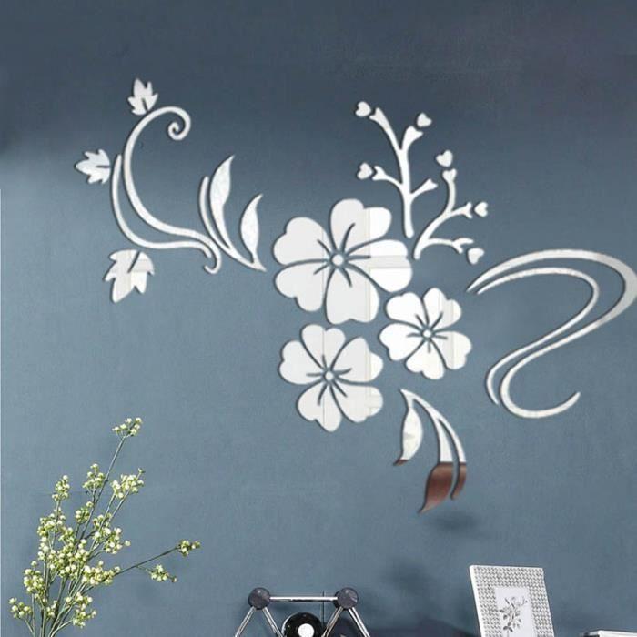 1 magnifique stickers fleur d'HIBISCUS DIY miroir argent mural acrylique 3D autocollant décoration design - Taille S - 100 x 76 cm