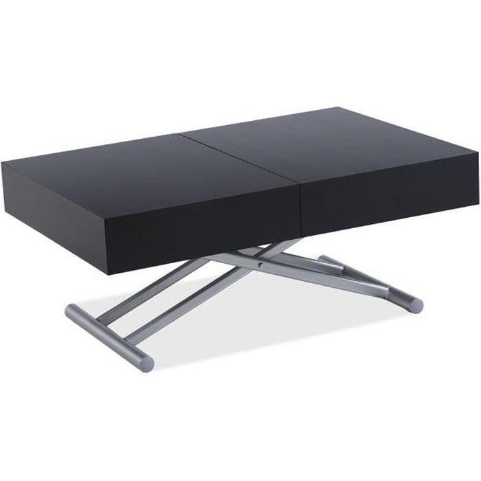 Table relevable extensible HARIE mélaminé bois noir noir Bois Inside75