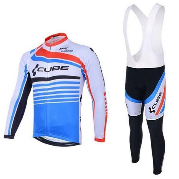 CUBE Maillot de VTT Manches Longues Homme Pantalon À Bretelle Vélo Route GEL Ensemble de Vetement de Cycliste Pro