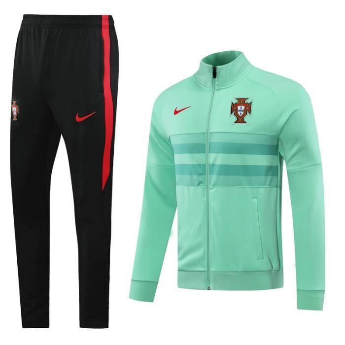 Portugal - Maillot de Foot Football Veste à Manches Longues 2020 2021 Survêtement Training pour Homme - Vert