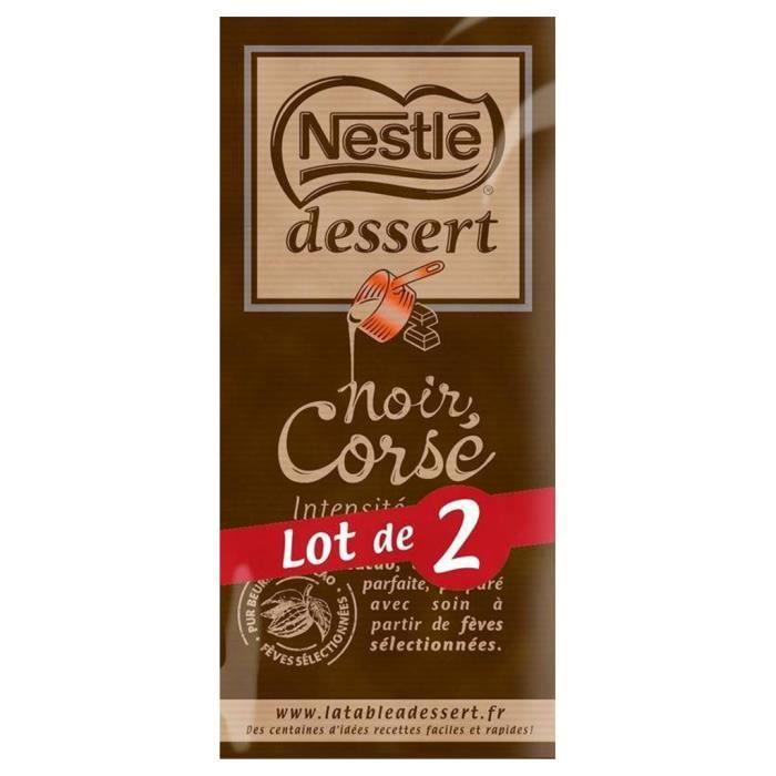 NESTLE DESSERT Tablette de Chocolat noir Corsé - 2 x 200 g