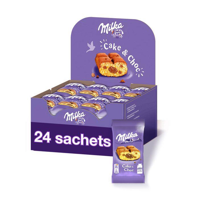 MILKA Cake and Choc - Gâteau moelleux fourré au Chocolat au Lait - Présentoir de 24 paquets x 35 g