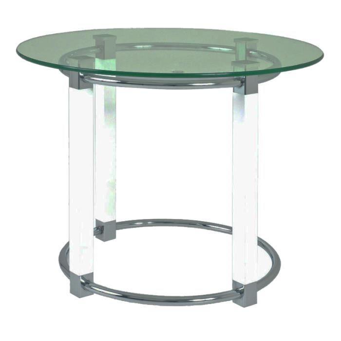 Table d'appoint en tube d'acier Coloris Blanc-c...