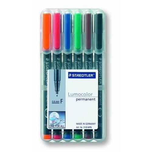 Staedtler - Lumocolor - Boîte de 6 feutres universels permanents - Couleurs assorties - Pointe 0,6 mm