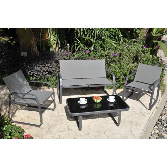 Palmeri salon de jardin 1 canap 2 fauteuils et table for Salon de jardin bas solde
