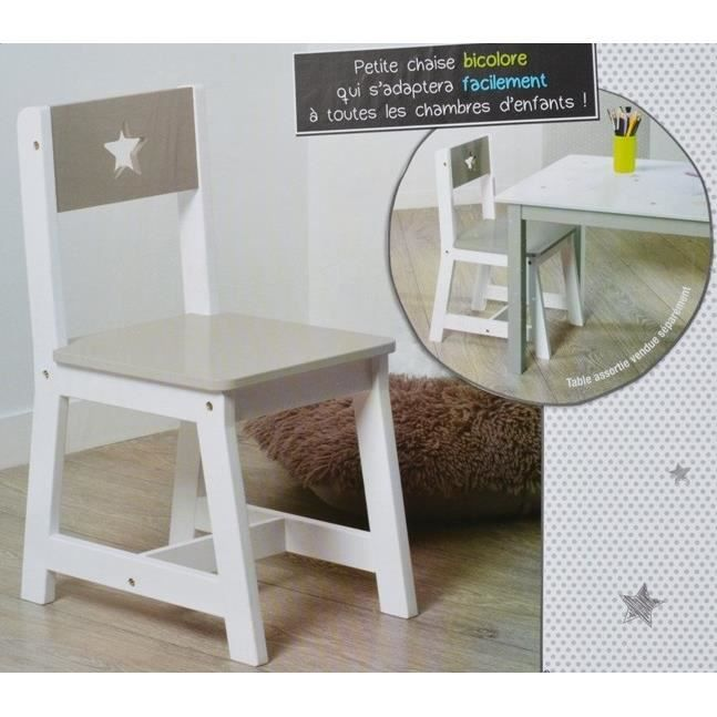 chaise pour enfants en bois taupe et blanche achat. Black Bedroom Furniture Sets. Home Design Ideas