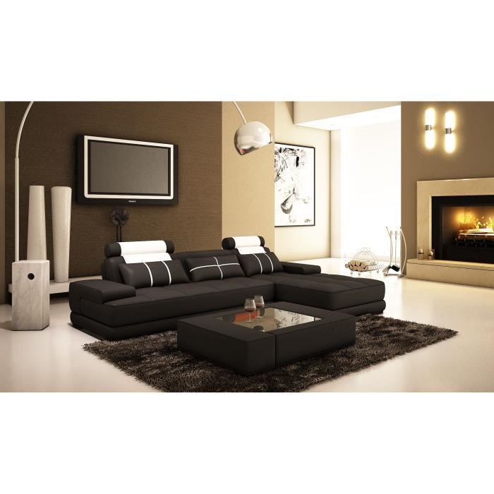 canap d 39 angle moderne cuir noir et blanc achat vente canap sofa divan cdiscount. Black Bedroom Furniture Sets. Home Design Ideas