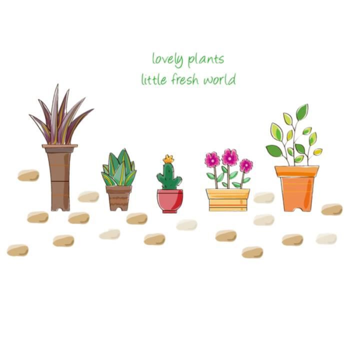 sticker plantes Autocollant Tapisserie belles plantes en pot fleurs