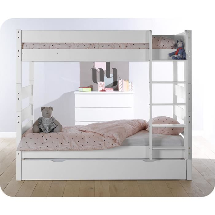 lit superpos kids blanc avec sommier gigogne achat vente lits superpos s lit superpos kids. Black Bedroom Furniture Sets. Home Design Ideas