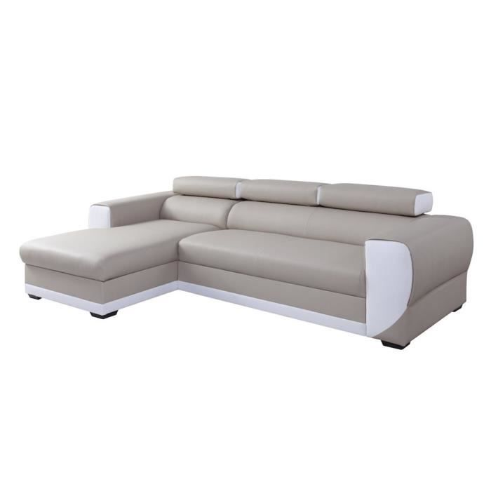 canap d 39 angle gauche switsofa cosy pu beige blanc achat. Black Bedroom Furniture Sets. Home Design Ideas