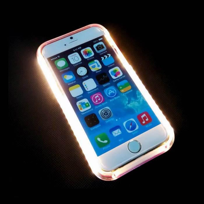 coque led flash selfie iphone 7 etui noir lumine