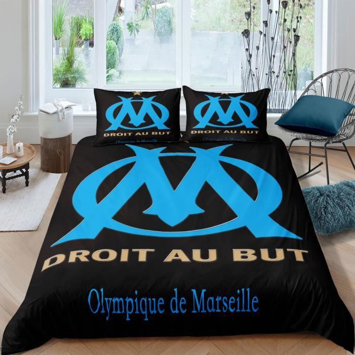 - Housse de Couette 140x190 Om 4pcs 63x63 - Olympique de Marseille 1899 240x220 + 2 Taies Oreiller Parure de Lit + Drap Housse