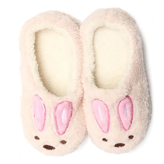 Pantoufles Chaussures Souples Chaussons Mules Lapin Hiver Chaud
