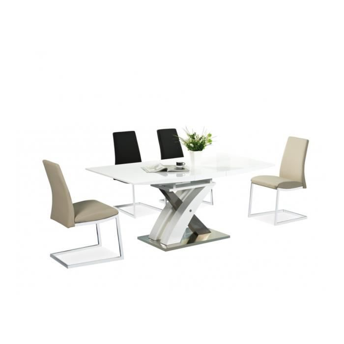 Table extensible design paulo blanc laqu achat vente table a manger seul - Table blanc laque extensible ...