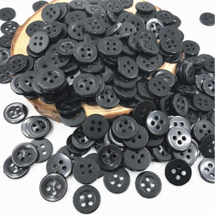 lot de 10 bouton scrapbooking 2 trou unis Noir mercerie couture 15 mm couture