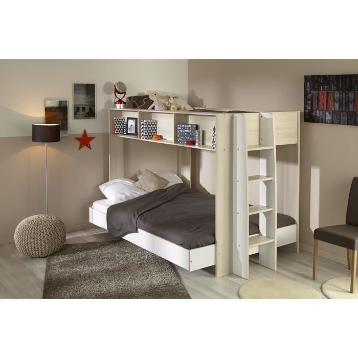 trio lit superpos sommiers 90x200 cm et 140x200 cm d cor ch ne acacia clair et blanc. Black Bedroom Furniture Sets. Home Design Ideas