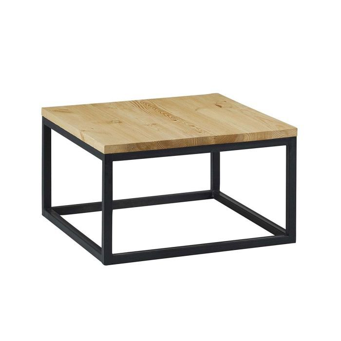 Table basse carr e 60 cm en pin massif et struc achat for Table exterieur largeur 60 cm