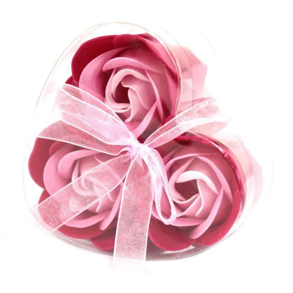 SAVON - SYNDETS Lot de 3 Roses de Savon Boite Coeur - Rose