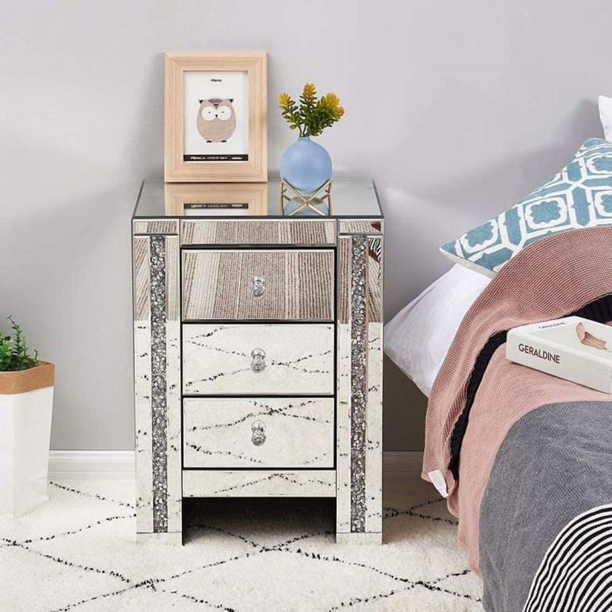 Chambre Adulte Avec Bureau table de chevet miroir en verre meuble de rangement avec 3