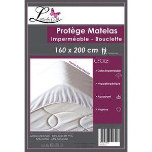 PROTÈGE MATELAS  Protège matelas imperméable bouclette cécile 160 c