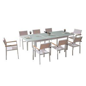 SALON DE JARDIN  Ensemble table et fauteuils de jardin en verre tre