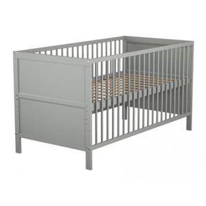 LIT BÉBÉ Lit bébé évolutif gris 70x140