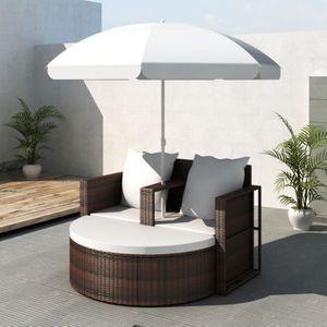 FAUTEUIL JARDIN  Canapé de 2 places rond en rotin Brun avec parasol