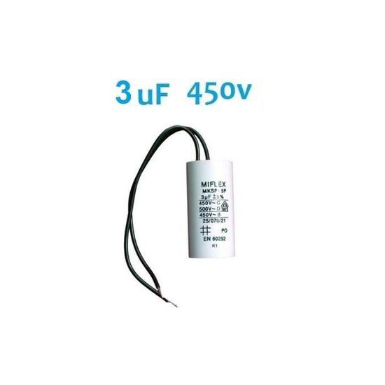 condo condensateur permanent de démarrage moteur MIFLEX 10uF 10µF 450v à fils