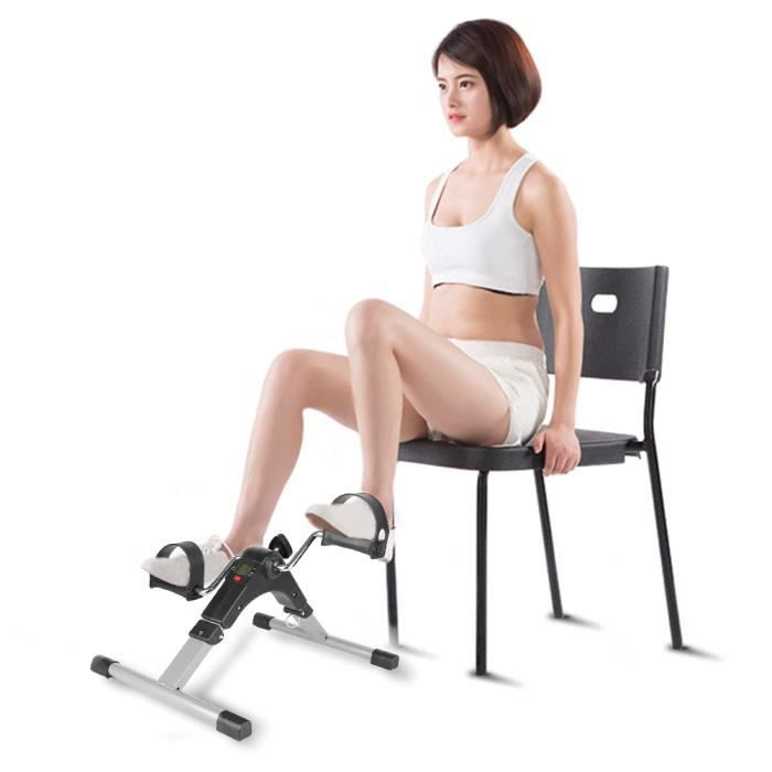 Mini Stepper Multifonctionnel avec moniteur Machine de fitness pour la maison Jambe exercices médical NOIR&ARGENT
