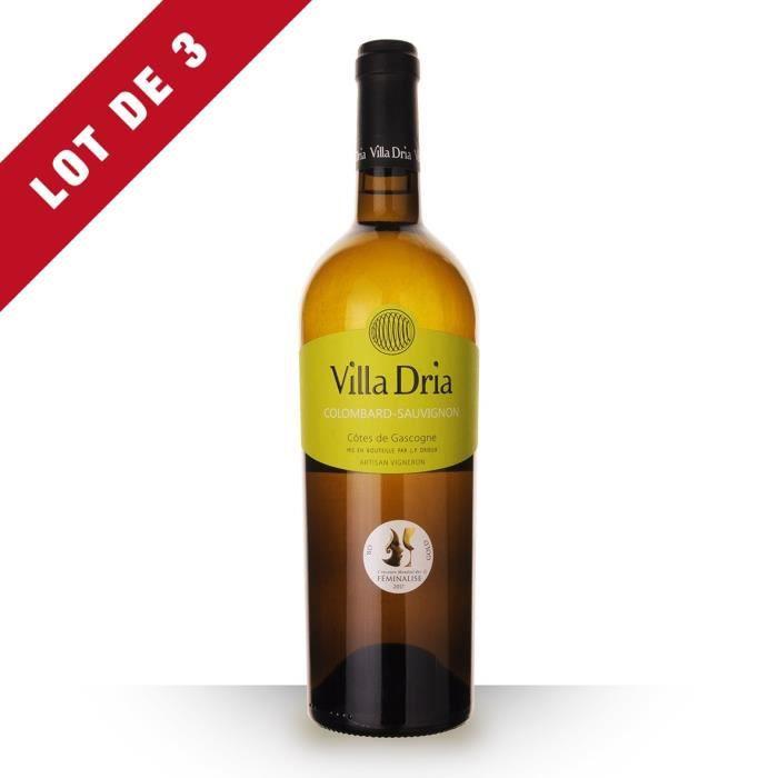 Lot de 3 - Villa Dria Côte Sauvage 2018 IGP Côtes de Gascogne - 3x75cl - Vin Blanc