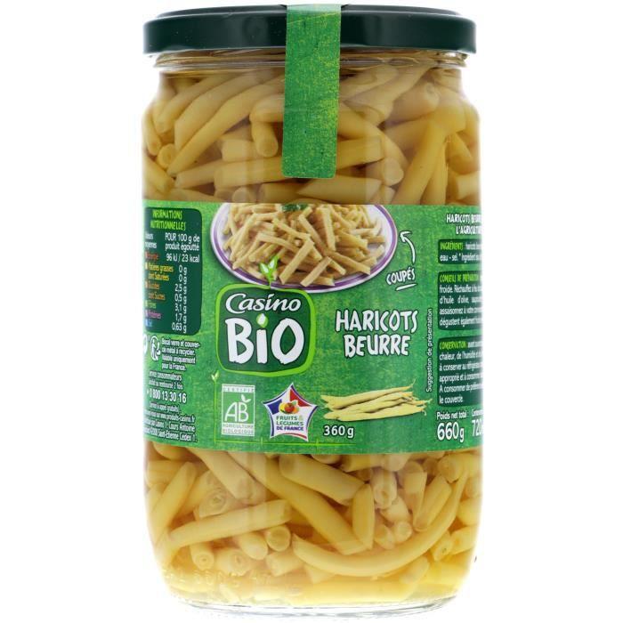 CASINO Haricots Beurre en Bocal Bio - 72Cl