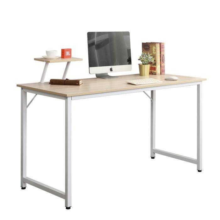 sogesfurniture Bureau d'ordinateur Moderne Table Informatique Simple Design, Table de Bureau Table de Travail en Bois et Acier, 1