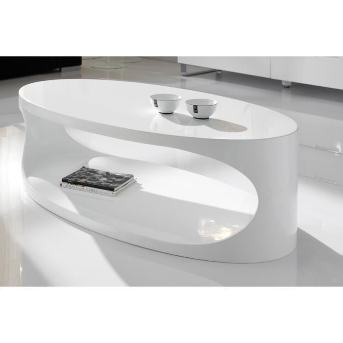 Table basse ovale blanc laqué design OXY Blanc