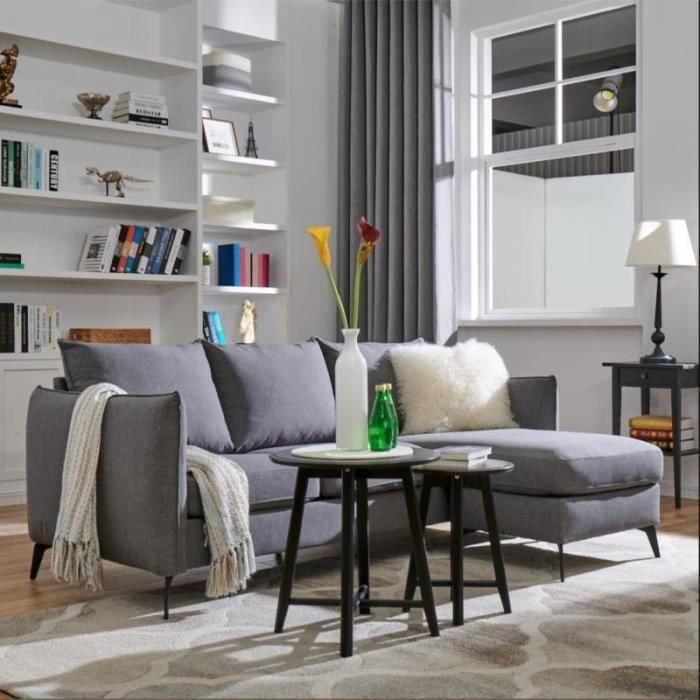 Canapé d'angle modulable en tissus gris MIA