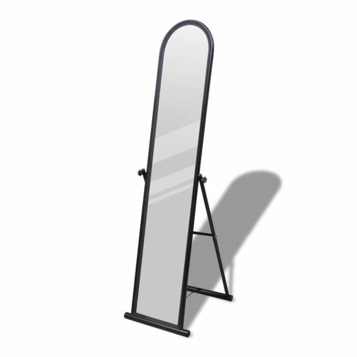 Miroir Sur Pied En Métal : Design Moderne - Look Simple - Chambre&Entrée&Dressing - Noir - 38 x 43 x 152 Cm