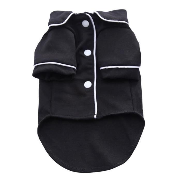 Manteau Blouson,Vêtements pour chiens de compagnie chien chiot Gilet chemise pour Chihuahua français bouledogue - Type Black-S