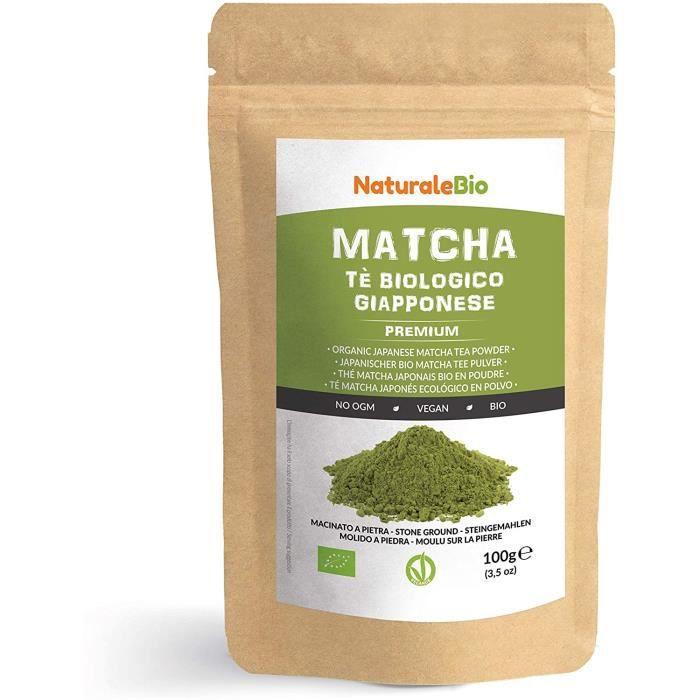 Thé Matcha Bio Japonais [ Premium Qualité ] 100 gr. Thé Vert Matcha en Poudre 100% Naturel. Matcha Green Tea Produit au Japon Uji, K