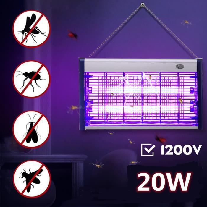 Lampe Anti Moustique Electrique Tue Mouches 20W UV LEDIntérieur Extérieur