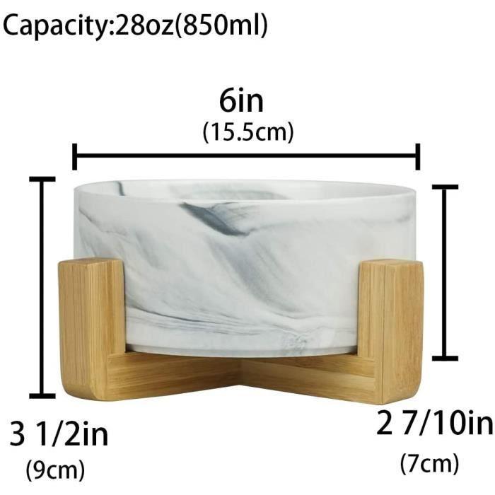 Marbre Noir Pet Gamelles pour Chien et Chat Gamelles Chien Chat Céramique Support Bambou -Va au Lave-Vaisselle et Facile 510940