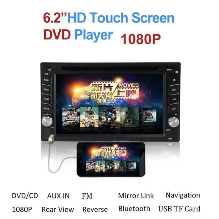 6.2Double 2DIN Miroir Lien Autoradio CD Lecteur de DVD Bluetooth USB SD TV FM Radio Car multimedia 22