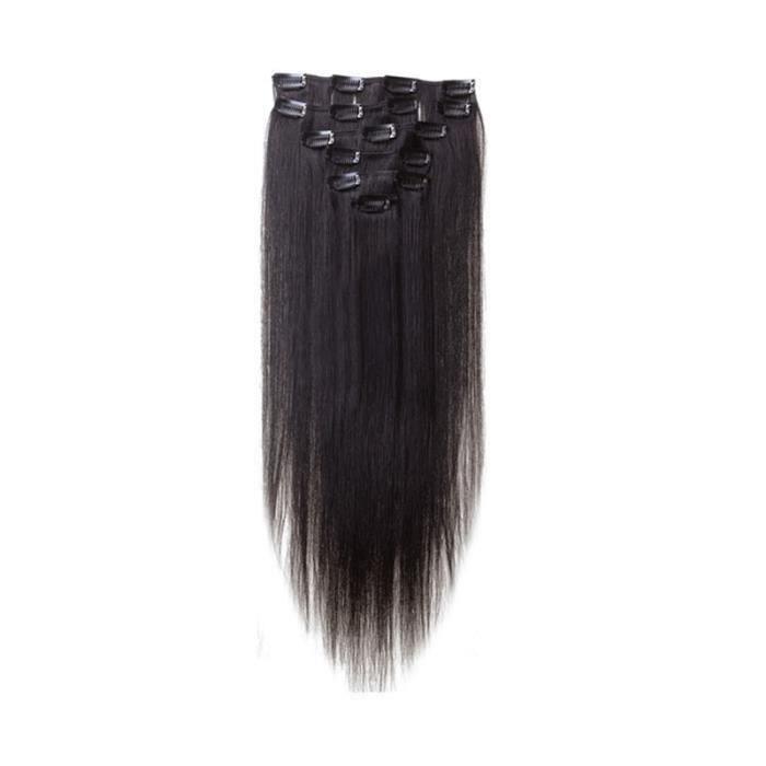 Femmes Clips de Cheveux humains Extensions de cheveux 7pcs 70g 22 pouces Noir naturel My04592 LIJFK17487