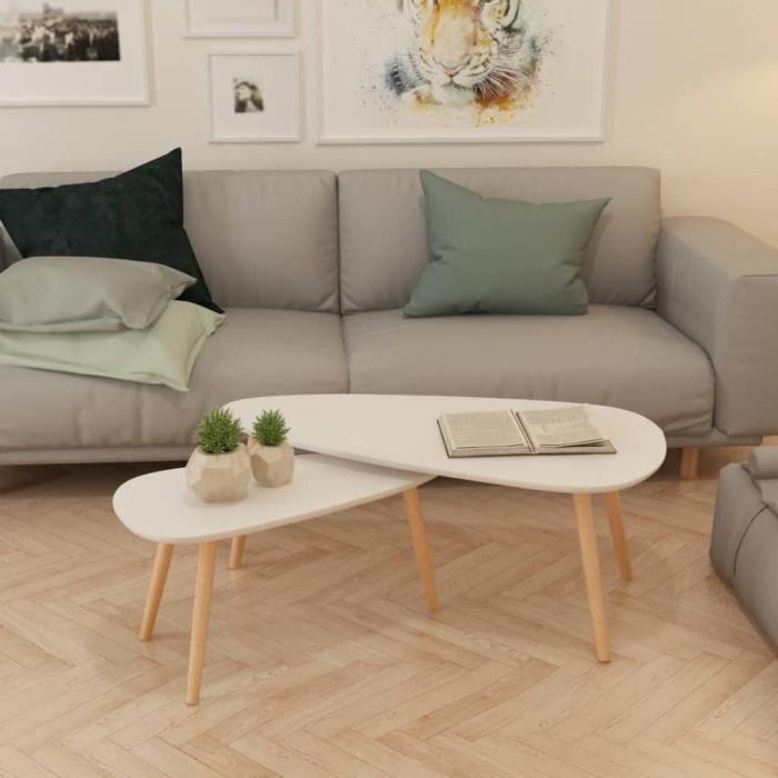 682865 - Design Furniture - Lot de 2 Table basse Scandinave - Bout de canapé Table à thé Bois de pin massif Blanc