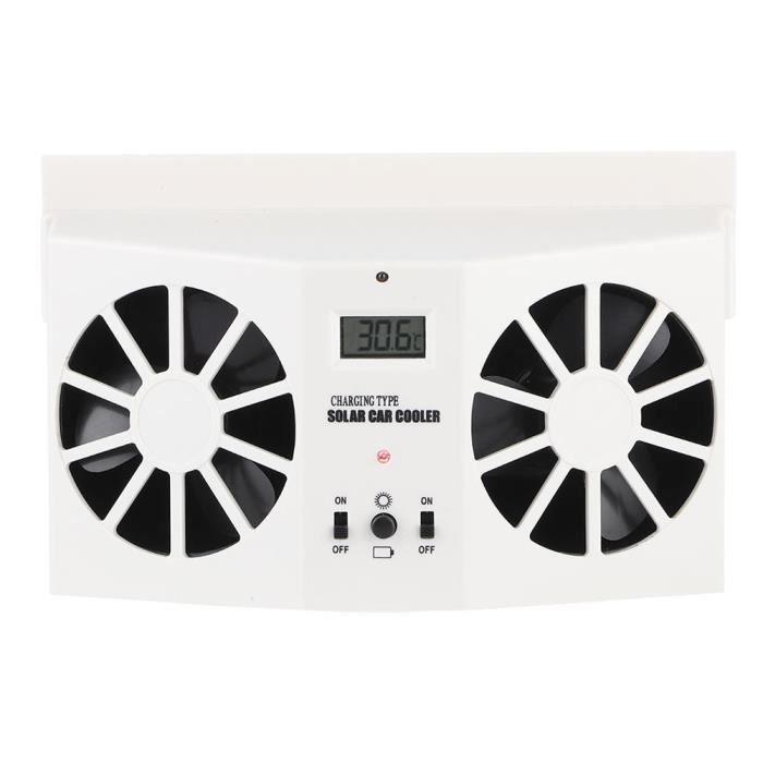 YOSOO ventilateur d'extraction à énergie solaire de voiture Blanc de refroidissement de radiateur d'échappement de ventilateur