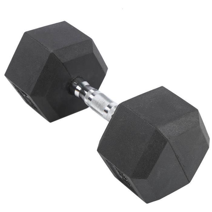 Tbest Haltère hexagonale 12,5 kg en caoutchouc hexagone exercice haltère gymnase à domicile entraînement équipement de remise