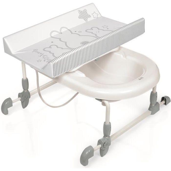 BREVI Table à langer + Baignoire Bagnotime Lapinou perle