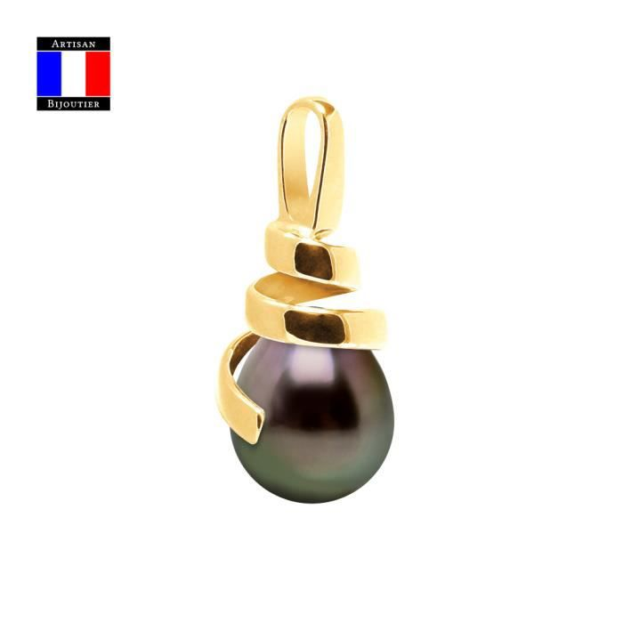 Compagnie Générale des Perles - Pendentif SPIRALE - Véritable Perle de Tahiti Poire 9-10 mm - Or Jaune 18 Cts - Bijou Femme